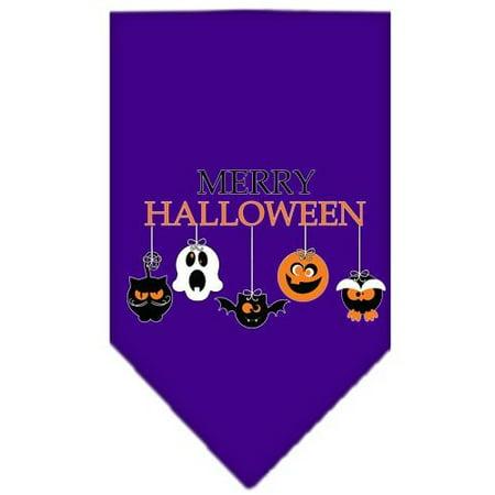 Merry Halloween Screen Print Bandana Purple Small - Halloween Summary