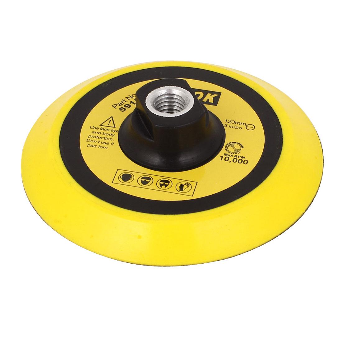 "Unique Bargains 13mm Thread Car 5"" Dia Black Yellow Foam Buffing Pad Polishing Waxing Wheel"
