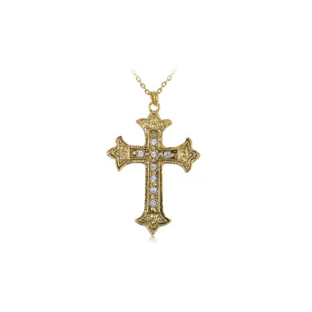 Gold Tone Metallic Color Holy Religious Celtic Cross Crystal Pendant -