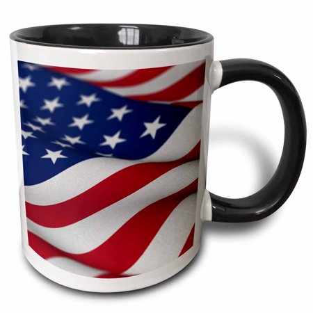 3dRose USA Flag American America Banner Stars Stripes patriot patriotism patriotic united states us, Two Tone Black Mug, 11oz