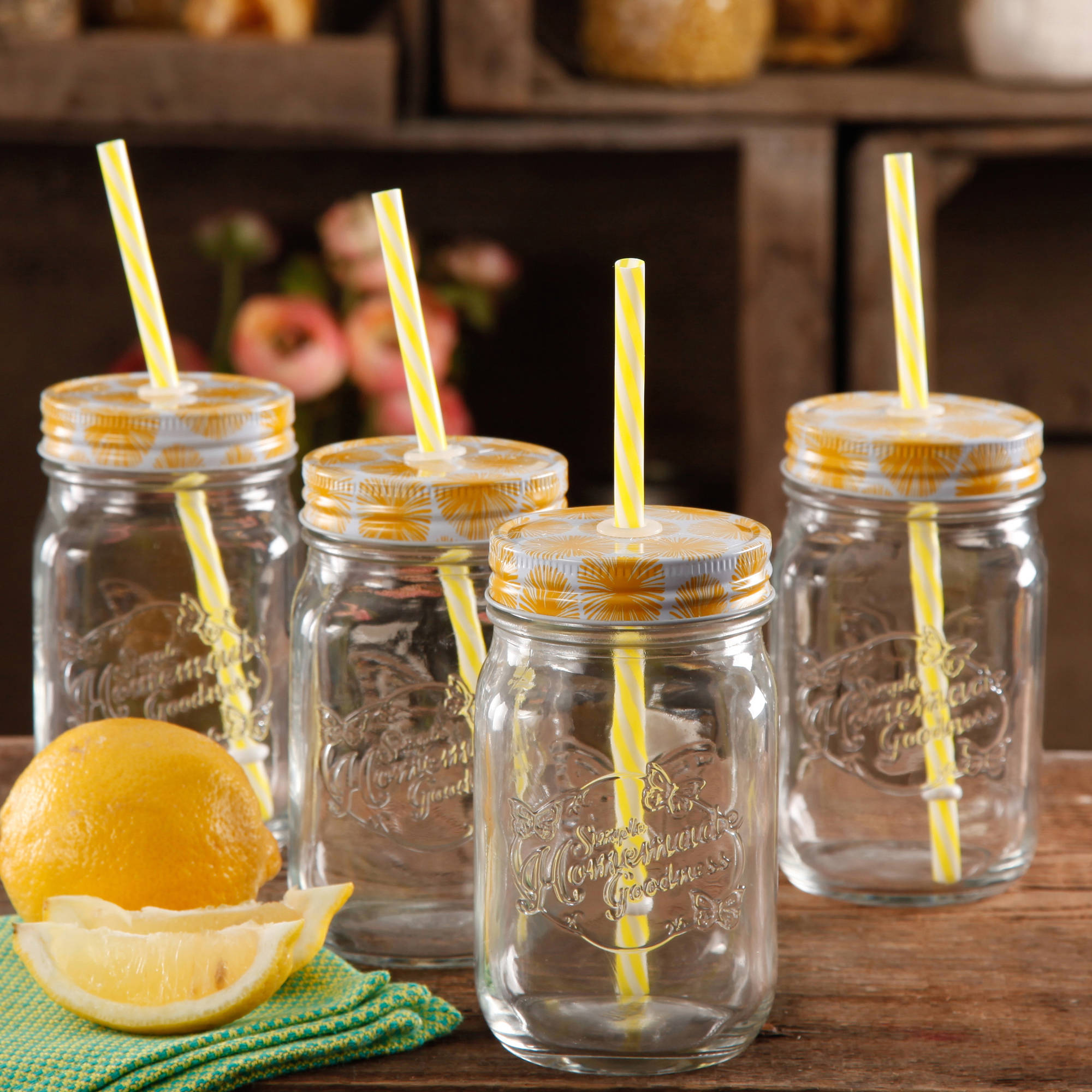 The Pioneer Woman Simple Homemade Goodness 16-Ounce Mason Jars with Lid and Straw, Set of 4
