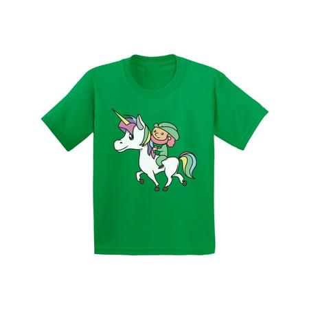 Awkward Styles Leprechaun Riding A Unicorn Tshirt Magical Unicorn Shirts Funny Leprechaun Tshirt for Kids Lucky Irish Gifts for Kids Proud To Be Irish American St. Patrick's Day Shirts Irish Party - Unicorns For Sale