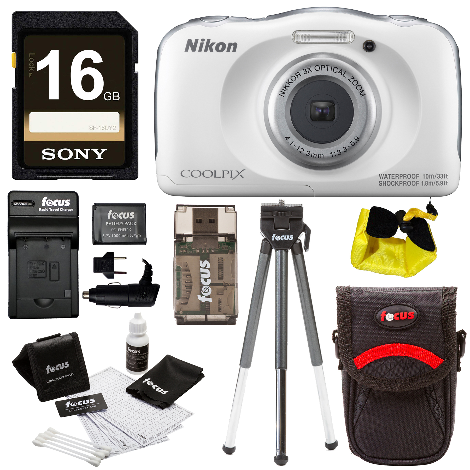 Nikon Coolpix W100 Camera (White), 16GB SD, Battery/Charger, Strap & Accessories