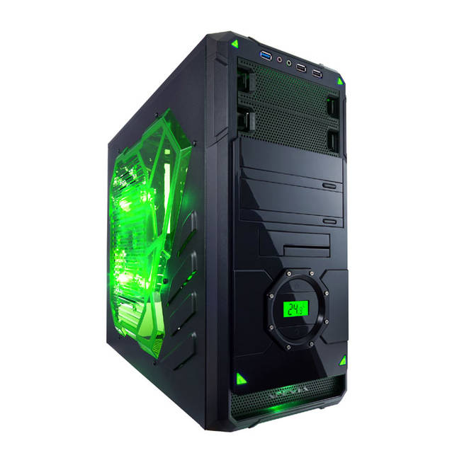 Apevia X-DREAMER4 No Power Supply ATX Mid Tower (Black/Green) X-DREAMER4-GN