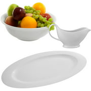 "10 Strawberry Street 18"" Serving Platter with Oversized Gravy and Serving Bowls, Set of 3, White"
