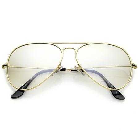 7bd6c195923cc sunglassLA - sunglassLA - Retro Small Double Nose Bridge Slim Temple Clear  Lens Aviator Eyeglasses 57mm - 57mm - Walmart.com