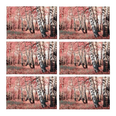 Birch Dining Room Side Table - MKHERT Pink Birch Tree Grove Placemats Table Mats for Dining Room Kitchen Table Decoration 12x18 inch,Set of 6