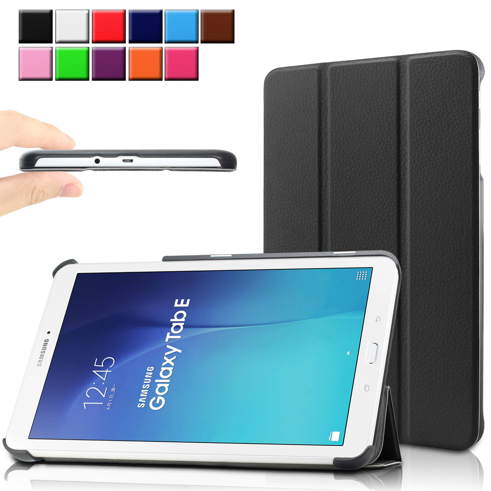 Infiland Ultra Tri-fold Case Cover For Samsung Galaxy Tab E / Tab E Nook 9.6-Inch Tablet (SM-T560 / T561 / T565 / SM-T567V Verizon 4G LTE )