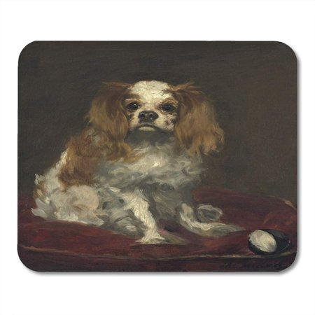 LADDKE Dog Black 19Th King Charles Spaniel by Edouard Manet 1866 French Painting Oil on Linen White Century Mousepad Mouse Pad Mouse Mat 9x10 inch