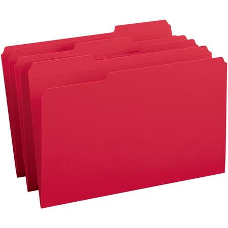 Smead, SMD17734, 1/3 Cut 2-ply Tab Colored File Folders, 100 / Box, - Red File Folders