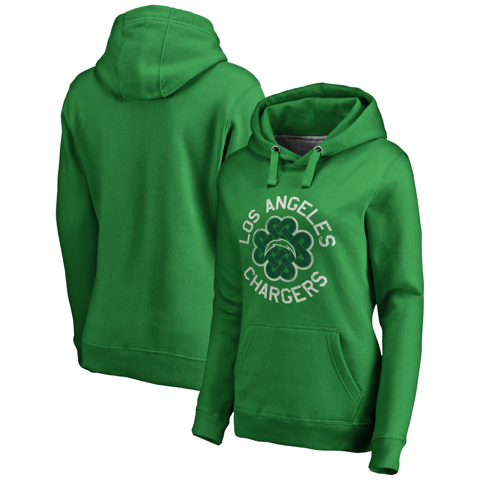 Los Angeles Chargers NFL Pro Line by Fanatics Branded Women's St. Patrick's Day Luck Tradition Pullover Hoodie - Kelly Green