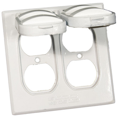 Morris Products Two Gang Weatherproof Covers in White for 2 Duplex Receptacles