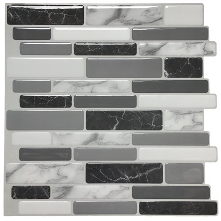 "Peel and Stick Wall Tile for Kitchen Backsplash, 12""x12"" Gray Marble, (6 Tiles)"