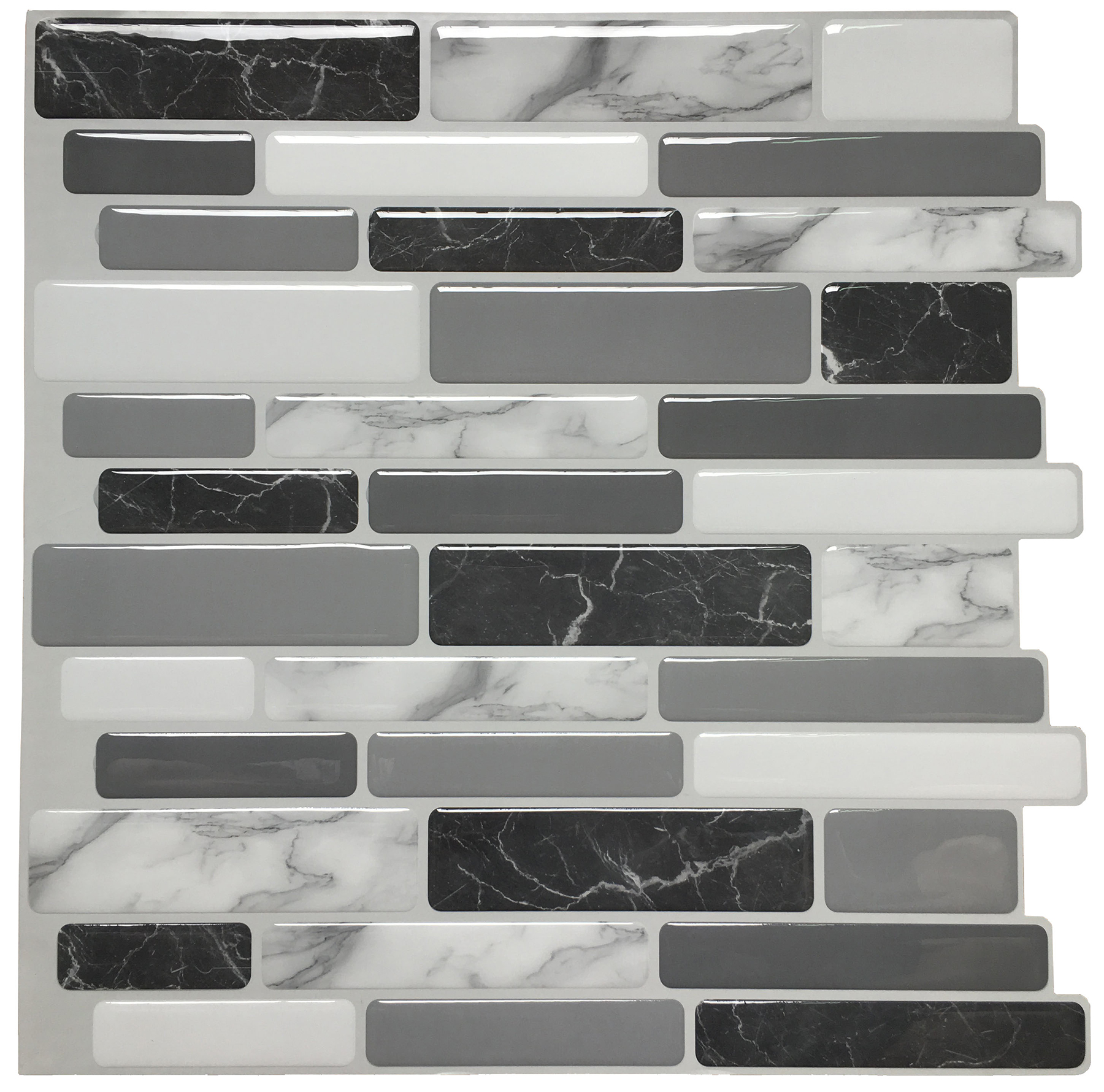 """Peel and Stick Wall Tile for Kitchen Backsplash, 12""""x12"""" Gray Marble, (6 Tiles)"""