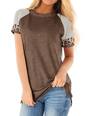 Women Crew Neck Short Sleeve Stripes Leopard Print Top
