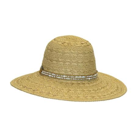 69d5ab7c3 Dorfman Pacific Women's White Wide Brim Fancy Weave Summer Straw Hat ...