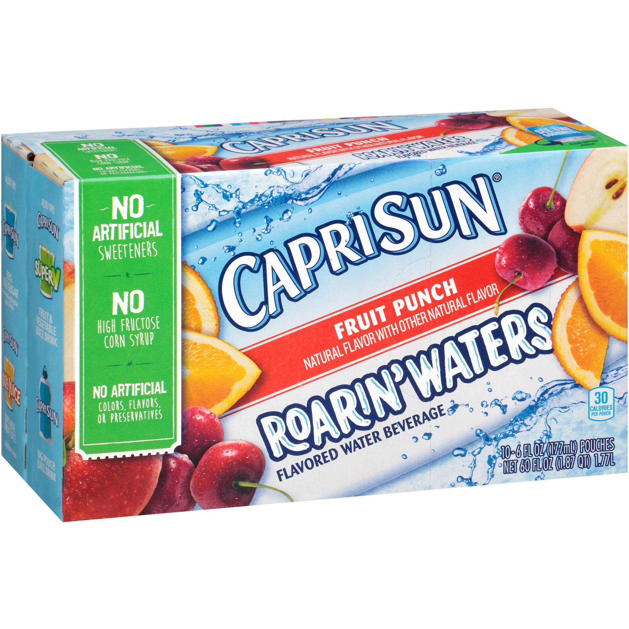 Capri Sun Roarin' Waters Fruit Punch Flavored Water Beverage, 6 fl oz, 10 count