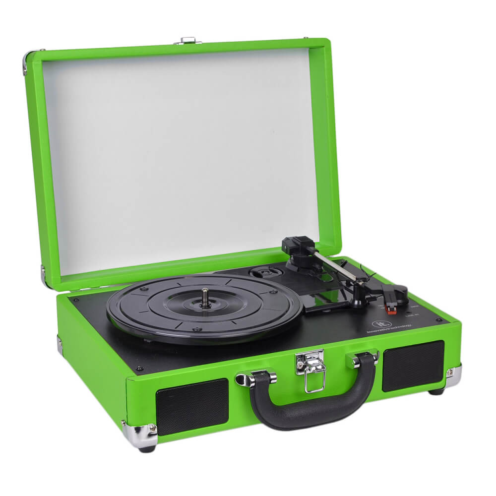 Refurbished Innovative Technology ITVS-550B 3-Speed Suitcase Turntable w/ Headphones Green