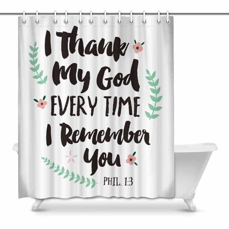 MKHERT Religious Christian Bible Verse Phil I Thank My House Decor Shower  Curtain for Bathroom Decorative Fabric Bath Curtain Set 60x72 inch