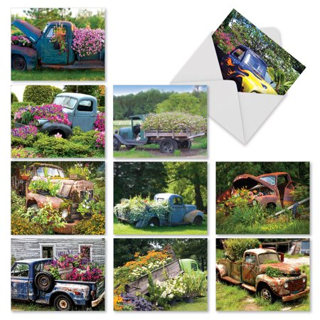 M2372OCB PETALS TO THE METAL' 10 Assorted All Occasions Note Cards Featuring Rusty and Rustic Pickup Truck Beds Filled with Blooming Gardens with Envelopes by The Best Card