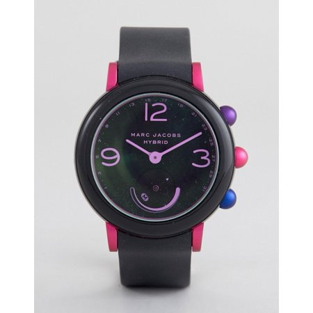 Black Rubber Watch - Marc Jacobs Women's 'Riley Hybrid' Quartz Stainless Steel and Rubber Smart Watch, Color Black (Model: MJT1003)