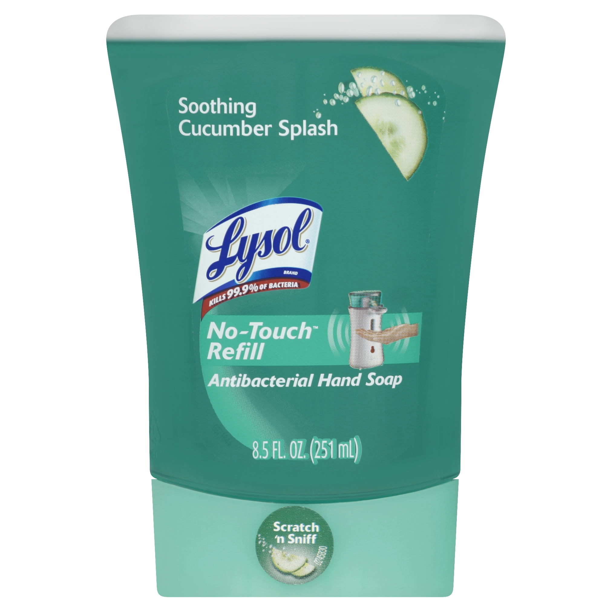 Lysol No-Touch Hand Soap, Soothing Cucumber Splash, 1 Refill, 8.5 Ounce