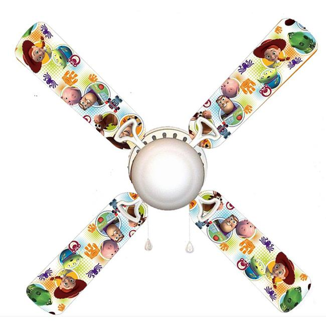 888 Cool Fans F42-0001122 42 in. Toy Story Woody & Buzz Infinity 4-Blades Ceiling Fan with Schoolhouse Lamp