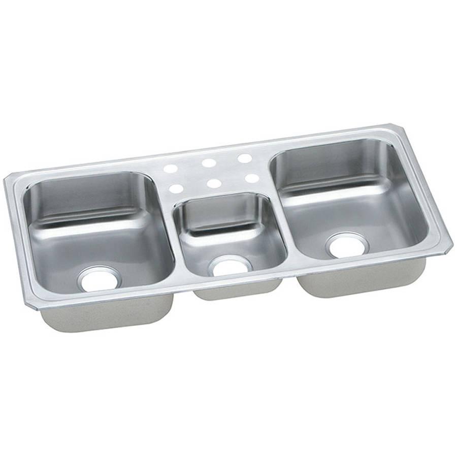 Elkay CMR43226 Gourmet Celebrity Stainless Steel Triple Bowl Top Mount Sink with 6 Faucet Holes