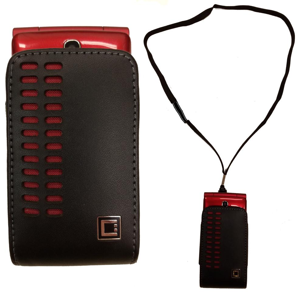 Around the Neck Hanging Lanyard Open Top Black and Red Case fits Consumer  Cellular 101 Flip Phone