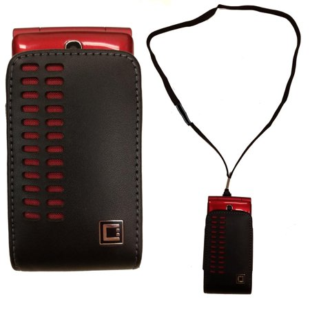 new arrival 717dc 0e8ea Around the Neck Hanging Lanyard Open Top Black and Red Case fits LG ...