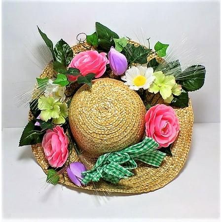 Fiber Optic Spring Floral Straw Hat, Wall Decor
