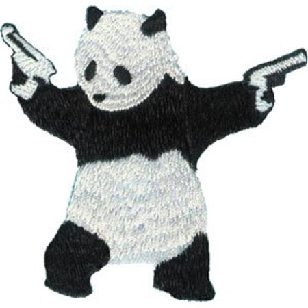 PANDA With GUN, Officially Licensed Original Artwork, High Quality Iron-On / Sew-On, 3.2' x 3.2' Embroidered (Panda Iron)