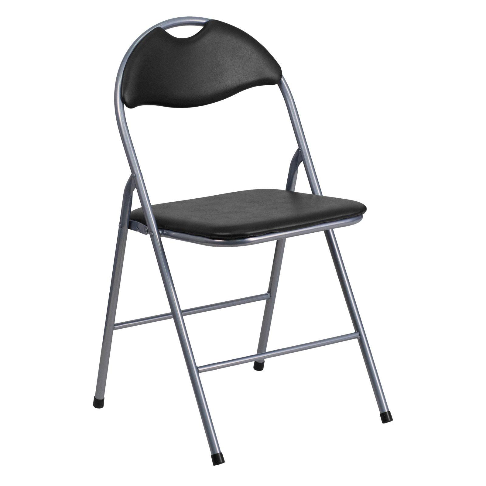 Flash Furniture HERCULES Series Black Vinyl Metal Folding Chair