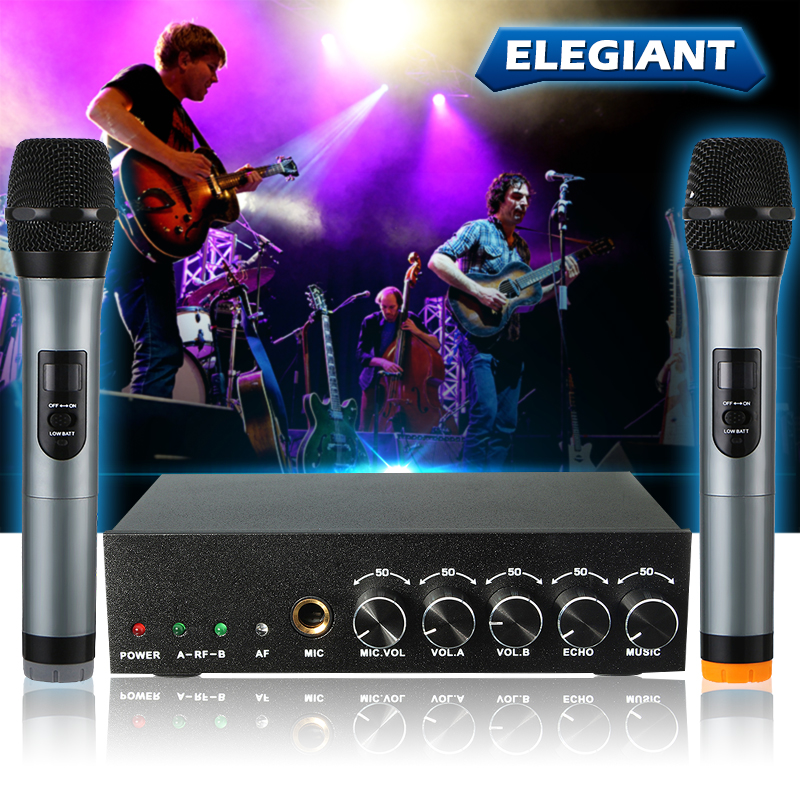 ELEGIANT VHF 2 Speakers Channel Wireless Microphone Receiver System for Home KTV Conference Karaoke Recording