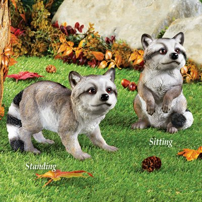 Collections Etc Raccoon Statue Hand Painted Outdoor Garden Décor