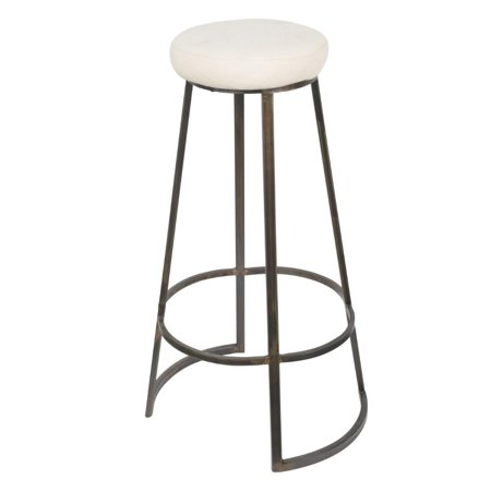 Metal Framed Backless Counter Stool With Polyester Seat, Black & White