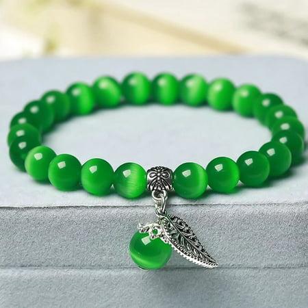 KABOER 10 Colors Catand#39;S Eye Stone Beads Charm Bracelets andamp; Bangles Handmade Leaf Pendant Bracelet Crystal Jewelry Gifts
