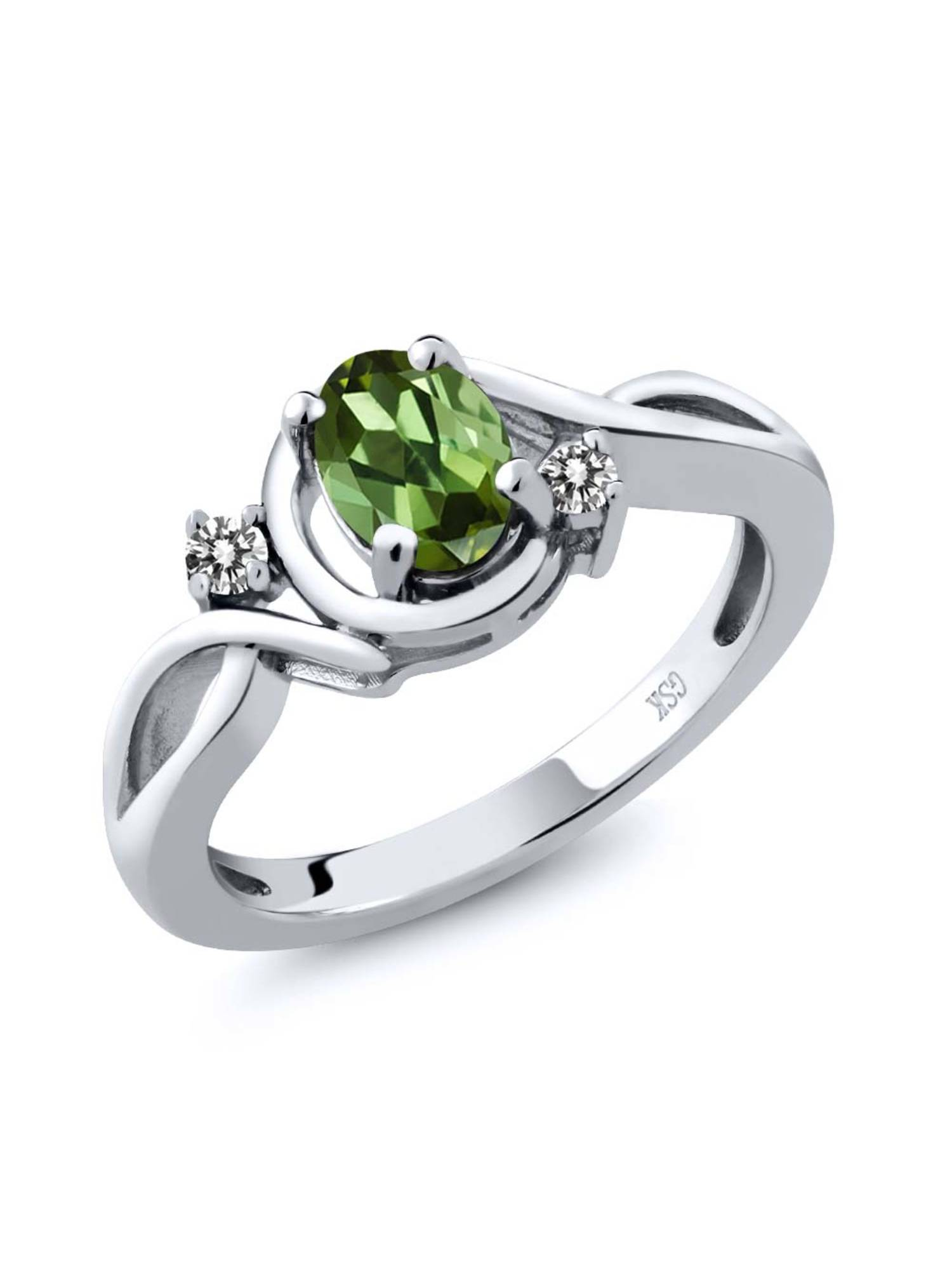 0.77 Ct Oval Green Tourmaline White Diamond 925 Sterling Silver Ring by