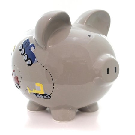 Child To Cherish - Large Piggy Bank - Construction on Gray (Kids Piggy Bank)