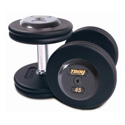 Troy Barbell Pro-Style Fixed Dumbbells - Straight Handle with Rubber End Cap & Deep Set Knurling