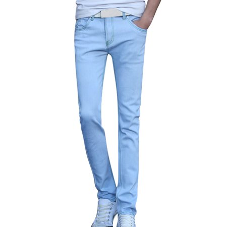 Unique Bargainsid Rise Belt Loop Straight Leg Slant Pockets Casual Jeans