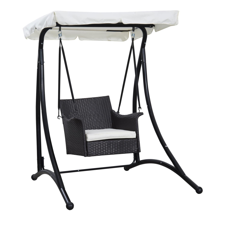 Outsunny Single Seat Rattan Wicker Swing Chair   Walmart.com
