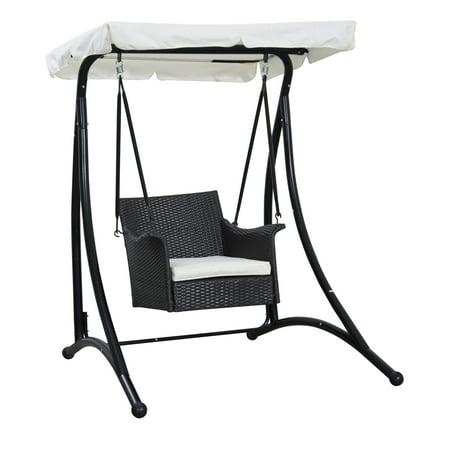 Outsunny Single Seat Rattan Wicker Swing Chair Walmart Com