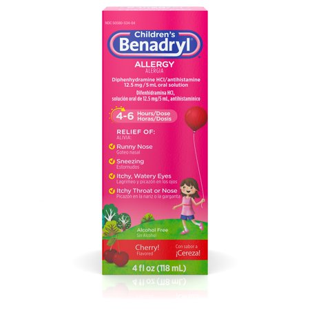Children's Benadryl Antihistamine Allergy Liquid, Cherry, 4 fl.