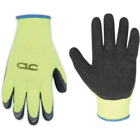 CLC Work Gear 2339L Large Hi-Viz Cold Weather Latex Dip Gripper Gloves - Mens Gripper Gloves