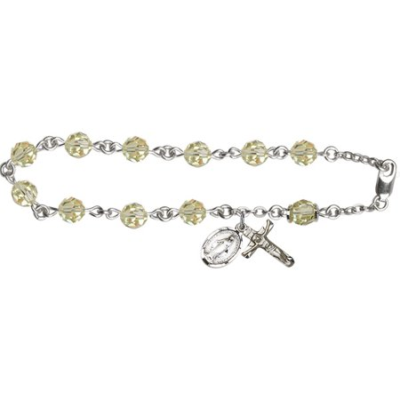 Jnoquil Swarovski And Austrian Tin Cut Aurora Borealis Catholic Rosary Bracelet In Sterling Silver By Bliss Mfg  Made In The Usa