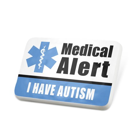 Porcelein Pin Medical Alert Blue I have Autism Lapel Badge – NEONBLOND - Autism Jewelry