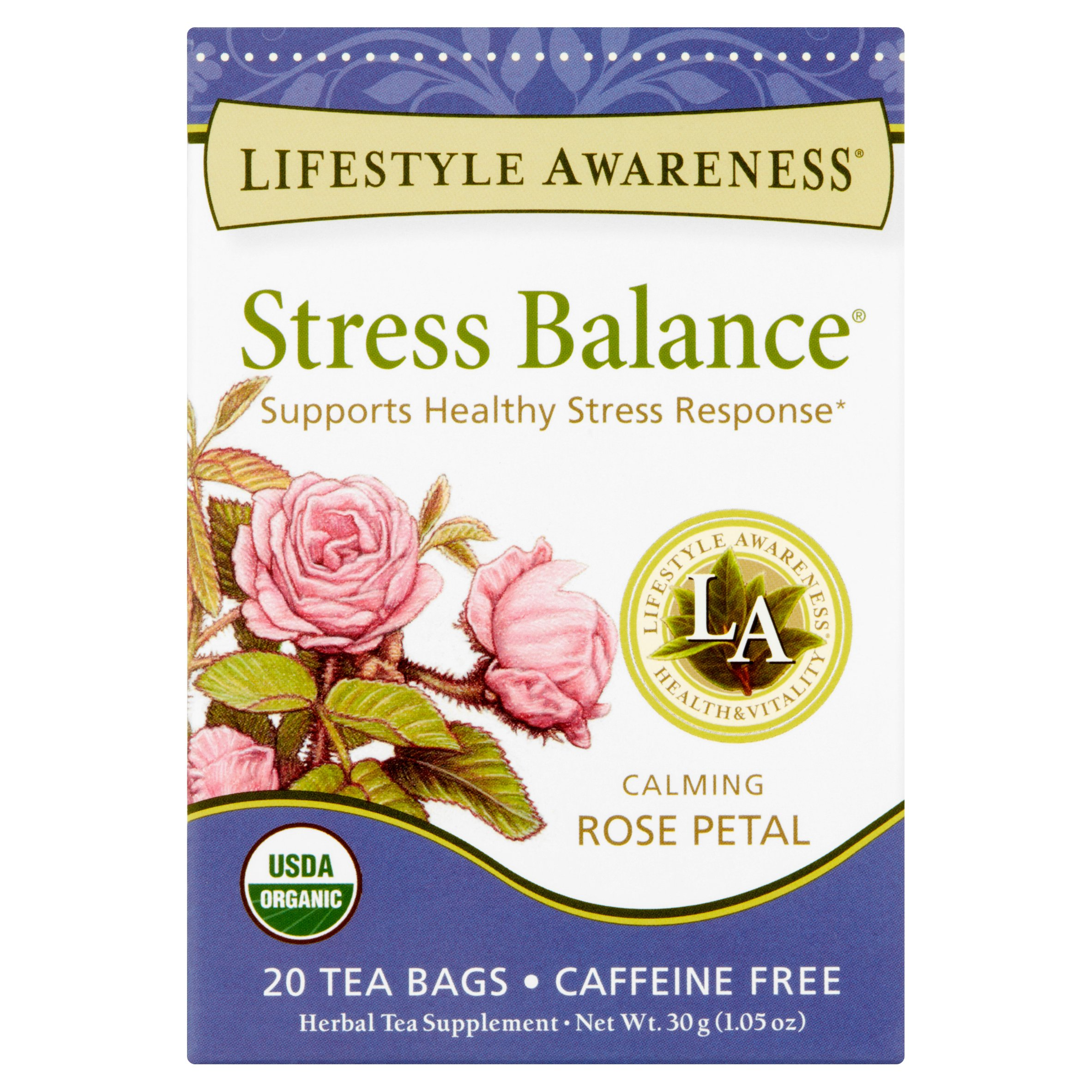 Lifestyle Awareness Stress Balance Tea with Calming Rose Petal, Caffeine Free, 20 Tea Bags, Pack of 6