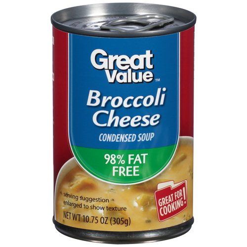 Great Value 98% Fat Free Broccoli Cheese Condensed Soup, 10.75 oz