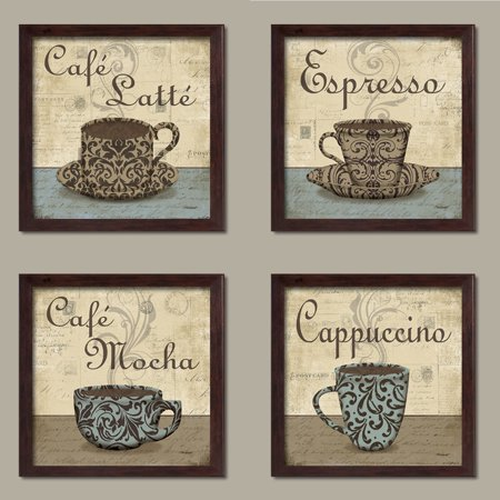 Lovely Vintage Espresso Cafe Latte Mocha Cuccino Coffee Cup Signs Kitchen Decor Four 12 By Inch Brown Framed Prints Ready To Hang